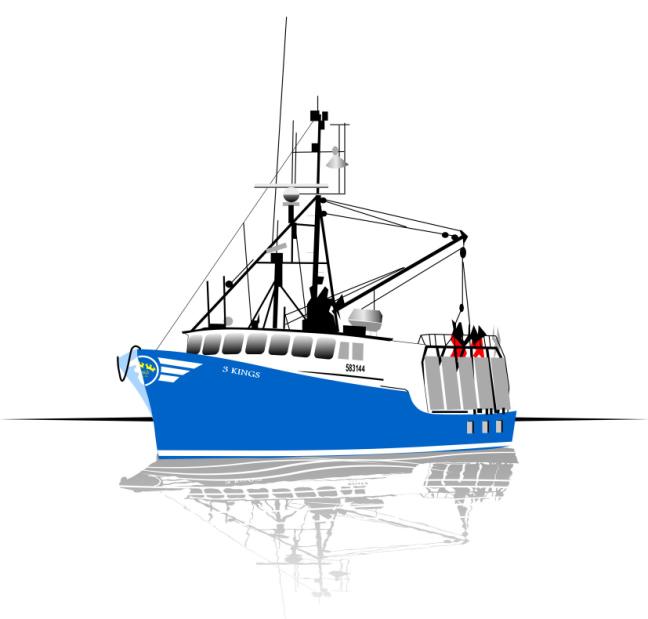 Studio B vector illustration of 3 Kings fishing vessel, for East Side Screenprinting