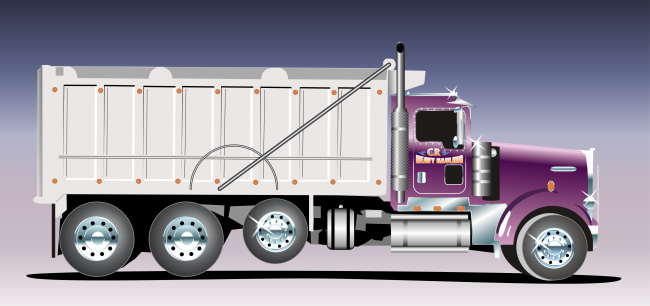 Studio B vector illustration of C.R. Heavy Hauling specialty truck, for Bob's Sporting Goods