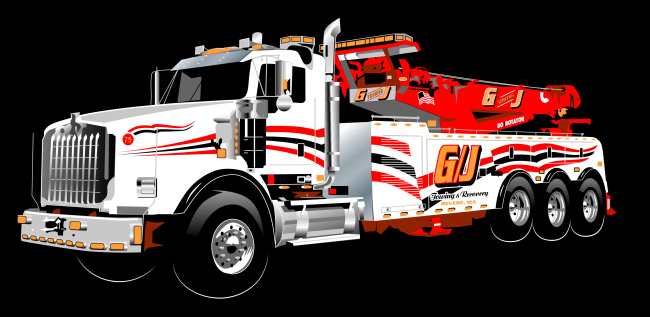 Studio B vector illustration of G/J Towing specialty truck for Oak Advertising