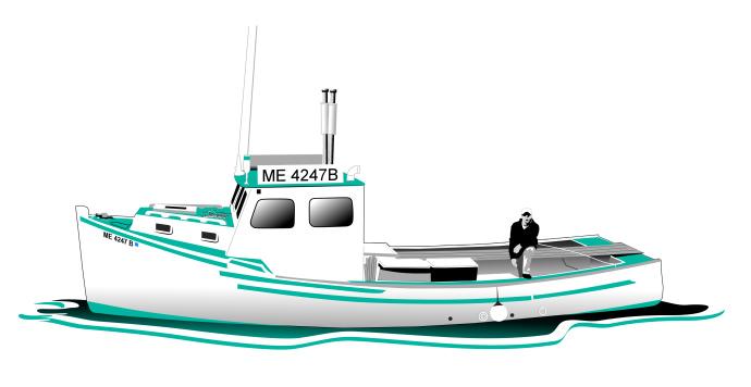 Studio B vector illustration of Jennifer Joan lobster boat, for East Side Screenprinting