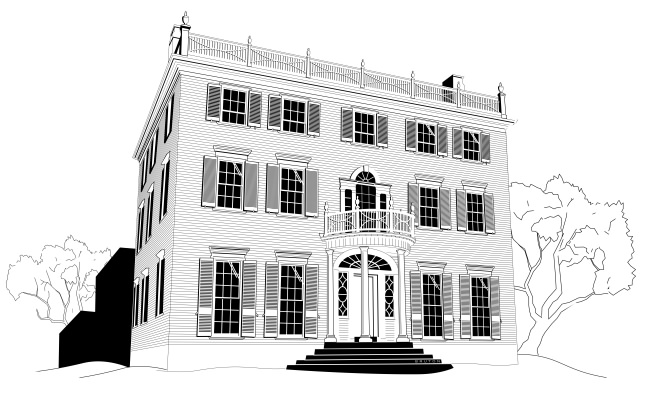 Studio B vector illustration of McLellan House at Portland Maine Museum of Art, for T's R Us