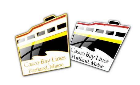 Studio B vector illustration of proposed Casco Bay Lines lapel pins, for Proforma Print Systems